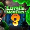 Le personnage de Luigi illumine son visage effrayé avec une lampe de poche à gauche dans l'image. À droite, on voit la silhouette spectrale du personnage, la tête en bas. Le titre du jeu est indiqué au milieu.