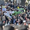 Des manifestants portant le drapeau algérien.