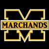 Le logo des Marchands de Shippagan, un gros M avec Marchands écrit au travers.