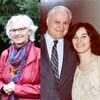Une femme pose en compagnie de son père. Une photo de la même femme aujourd'hui.