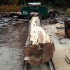 Le moulin à bois de Scott Cunningham alors qu'un billot va pénétrer dans la scie.