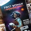 Une jeune femme astronaute sur la couverture d'une bande dessinée avec un robot.