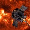 Illustration artistique de la sonde Parker devant le Soleil.