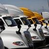 Des camions de marque International qui appartiennent à l'entreprise  Navistar et que Volkswagen veut acheter.