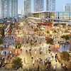 Une image numérique qui montre un nouveau complexe moderne, avec des rues remplies de monde.