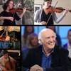 Gilles Vigneault et des membres de l'Orchestre Métropolitain, qui jouent de violon ou du violoncelle.
