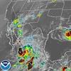 Deux ouragans sur une carte satellite.