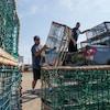 Deux hommes chargent des casiers à homard vides dans un camionnette pick-up.