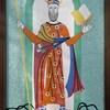 Une mosaïque de petits carreaux de tuiles représentant un personnage biblique, soit St-Patrick.