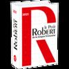 La couverture du dictionnaire est blanche avec un grand R rouge.