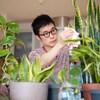 Un homme s'occupe de ses plantes d'intérieur.