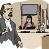 Sur le croquis, deux avocats semblent s'interpeler devant le juge.