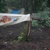 Un arbre s'est affaissé alors que des banderoles à l'effigie de personnages animés sont endommagés à l'avant.