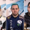 Un montage de trois photos montrant chacune un joueur de jeux vidéo professionnel.