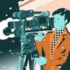 Une illustration montre une réalisatrice caméra à la main.