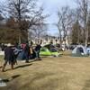 Des gens installent des tentes dans un parc.