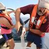 Des biologistes recueillent le contenu de l'estomac des requins-tigres afin de savoir ce qu'ils mangent.