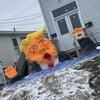Une sculpture de neige de Donald Trump à Terre-Neuve, en janvier 2021.