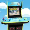 Une borne d'arcade jaune et bleu affichant des personnages des Simpson.