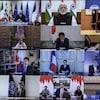 Mosaïque d'images des dirigeants du G20, dont Justin Trudeau, réunis par vidéoconférence.
