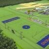 La simulation d'un terrain de sport en gazon artificiel