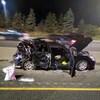 Une voiture lourdement endommagée