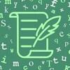 Des lettres blanches et vert pâle sont disposées sur un fond vert plus foncé et au centre, une feuille de papier avec une plume.