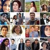 Mosaïque de photos des victimes de l'écrasement de l'avion en Iran.