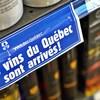 Une affichette dans une épicerie faisant la promotion des vins du Québec.