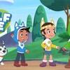 Une image du personnage animé Wolf Joe accompagné de ses deux amis et d'un chien. Ils sont dans la forêt.