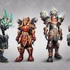 Quatre personnages du jeu vidéo World of Warcraft : des personnages vêtus d'armures colorées.