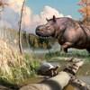 Illustration artistique d'un rhinocéros ancien et de tortues dans leur milieu naturel.