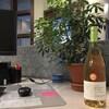 Une bouteille sur un bureau de travail devant une plante