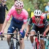 Michael Woods (en rose) et Richie Porte