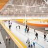 Croquis de l'intérieur du centre de glaces. Une patinoire se trouve au centre d'un anneau où des gens patinent.
