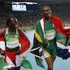 Caster Semenya (à droite) et Francine Niyonsaba à la fin du 800 m des Jeux olympiques de 2016 à Rio