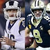 Jared Goff (no 16), Drew Brees (no 9), Tom Brady (no 12) et Patrick Mahomes (no 15)