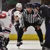 Un artbire s'apprête à déposer la rondelle sur la glace lors d'une mise au jeu.