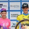 Le podium du Tour Herald Sun 2019 : Michael Woods (3e), Dylan Van Baarle (vainqueur) et Nick Schultz (2e)