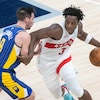 Jan 24, 2021; Indianapolis, Indiana, USA; Toronto Raptors forward OG Anunoby (3) dribbles the ball while Indiana Pacers guard T.J. McConnell (9) defends  in the fourth quarter at Bankers Life Fieldhouse. Mandatory Credit: Trevor Ruszkowski-USA TODAY Sports