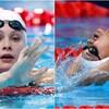 Montage de photos des deux nageuses dans la piscine