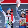 Petra Vlhova et Federica Brignone gagnantes ex aequo du slalom géant de Sestrières partagent la plus haute marche du podium.