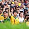 Certains spectateurs portent des maillots de l'équipe australienne.