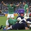Les joueurs irlandais célèbrent un essai.