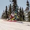 Jeffrey Read dévale la pente au slalom des Championnats nationaux de ski alpin, à l'Anse-Saint-Jean.