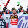 L'Autrichien Marcel Hirscher célèbre sa victoire au slalom de la Coupe du monde de ski alpin de Kranjska Gora, en Slovénie.