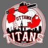 Un logo représente un joueur de baseball rouge avec une feuille d'érable tatouée sur son biceps gauche, tenant un bâton de baseball derrière le Parlement d'Ottawa.
