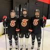 Emma Woods, Shiann Darkangelo et Emma Greco posent lors d'une séance d'entraînement du Six de Toronto.