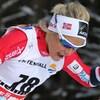 Therese Johaug en plein effort sur un parcours de ski de fond