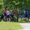 Des cyclistes à l'arrêt parlent entre eux.